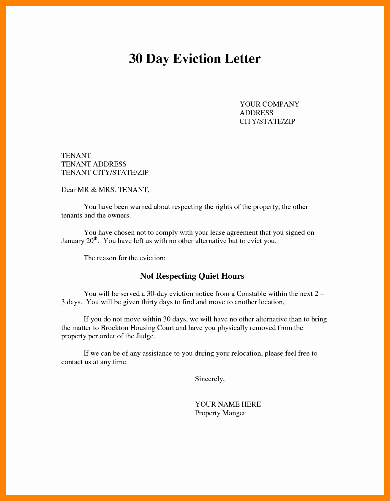 30 Day Eviction Letter Template - 11 Beautiful 3 Day Eviction Notice Template Musiquesattitude
