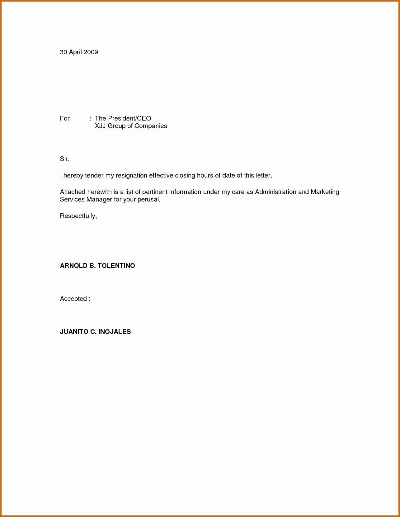 Immediate Resignation Letter Template - 13 New Template for Resignation Letter Singapore Resume Templates