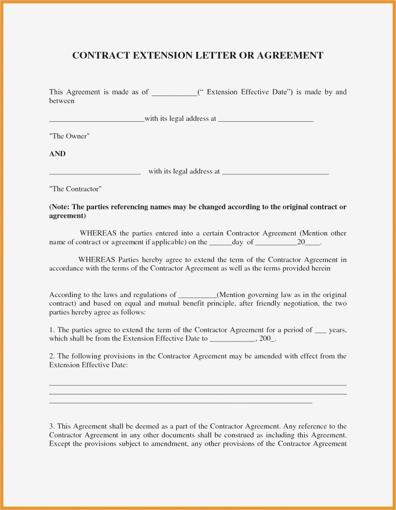 Addendum to Offer Letter Template - 14 New Addendum to Contract Sample