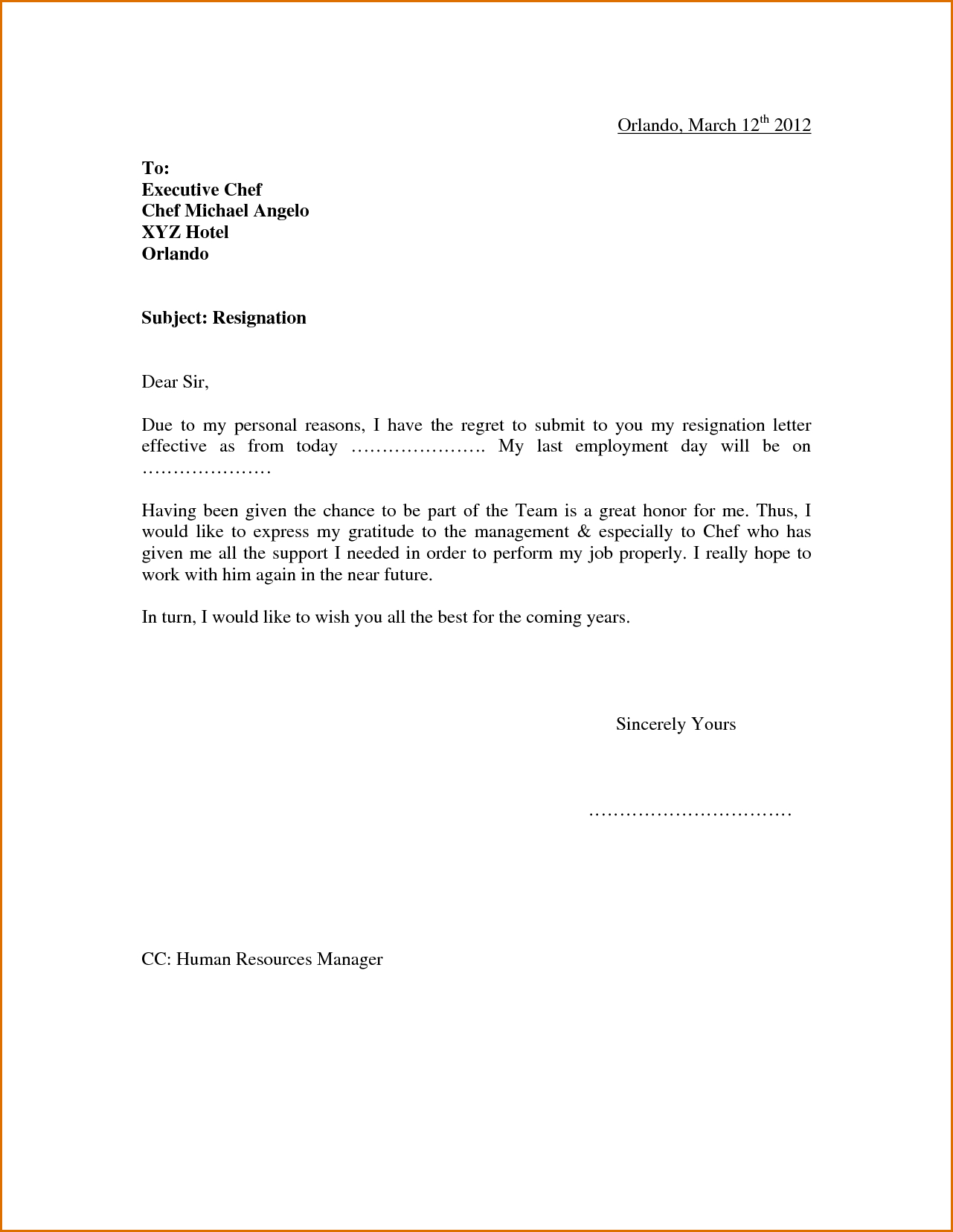 Sample Resignation Letter Template - 1650 · 53 Kb · Png Sample Resignation Letter Due to Personal Reason