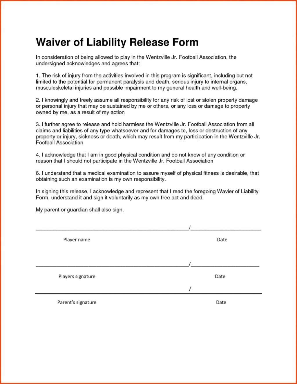 Letter Of Release Of Liability Template - 18 Inspirational Hold Harmless Agreement Template