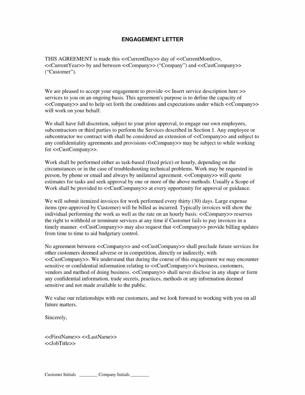 Business Valuation Engagement Letter Template Examples Letter