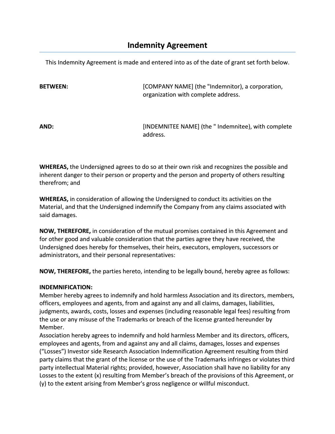 Letter Of Indemnification Template - 19 Awesome What is An Indemnity Agreement