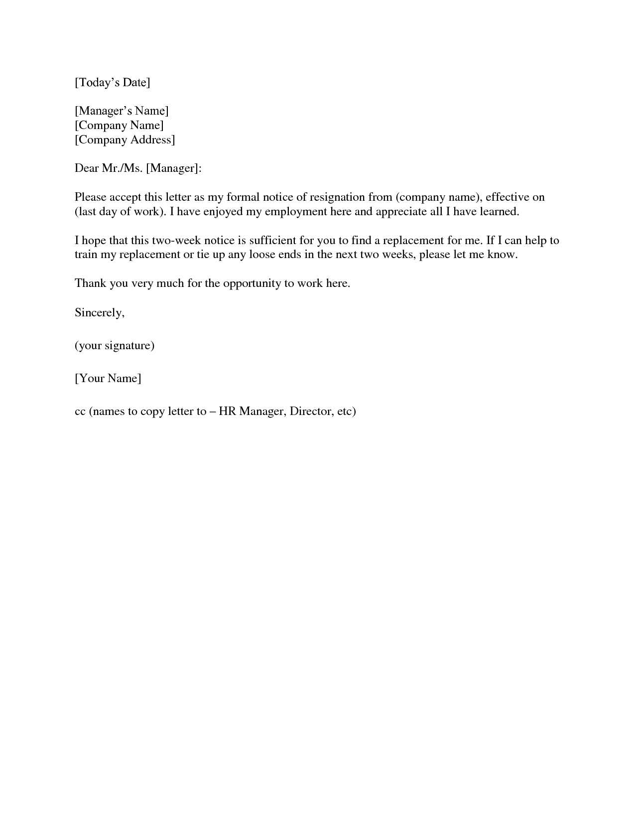 2 Week Notice Letter Template - 2 Weeks Notice Letter Resignation Letter 2 Week Notice