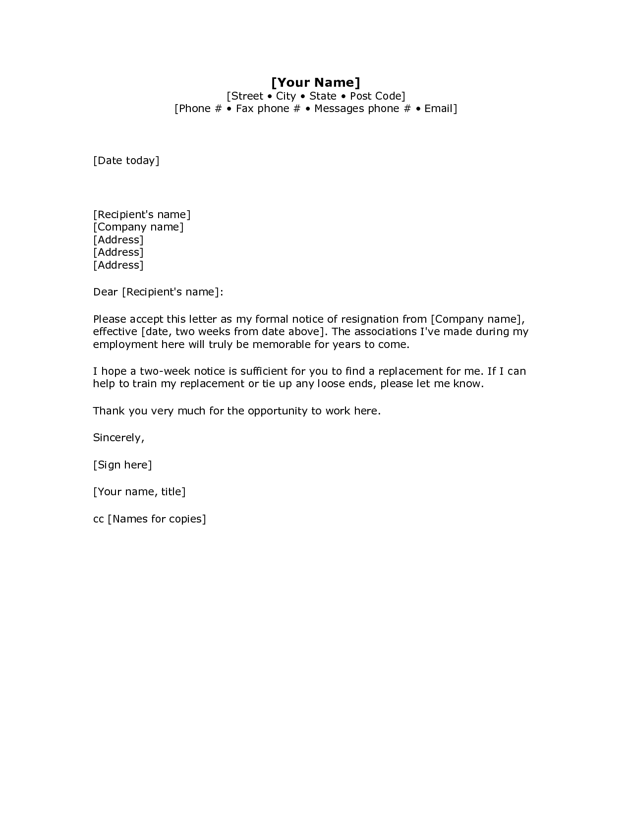 resignation letter template example-2 Weeks Notice Letter Resignation Letter Week Notice Words HDWriting A Letter Resignation Email Letter Sample 9-l