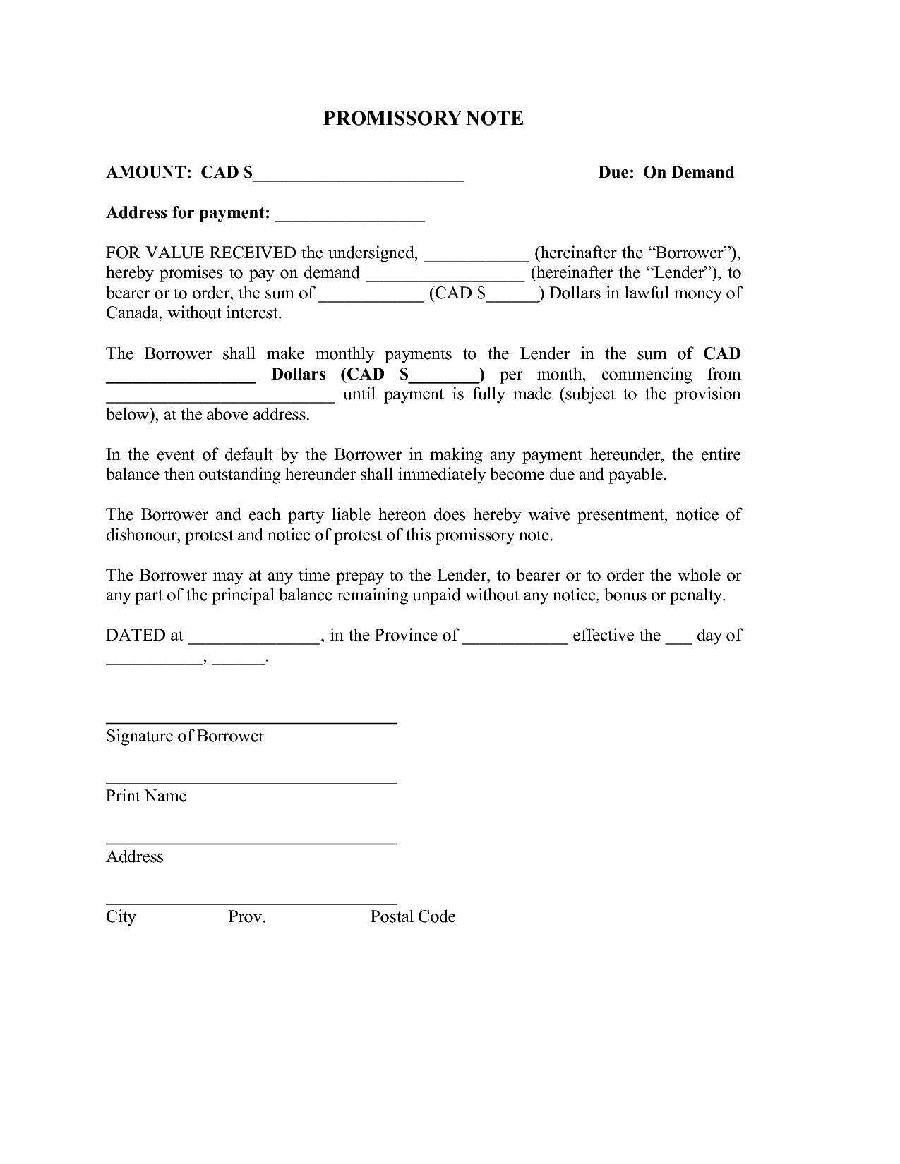 Demand letter promissory note template samples letter for Promissory note template arizona