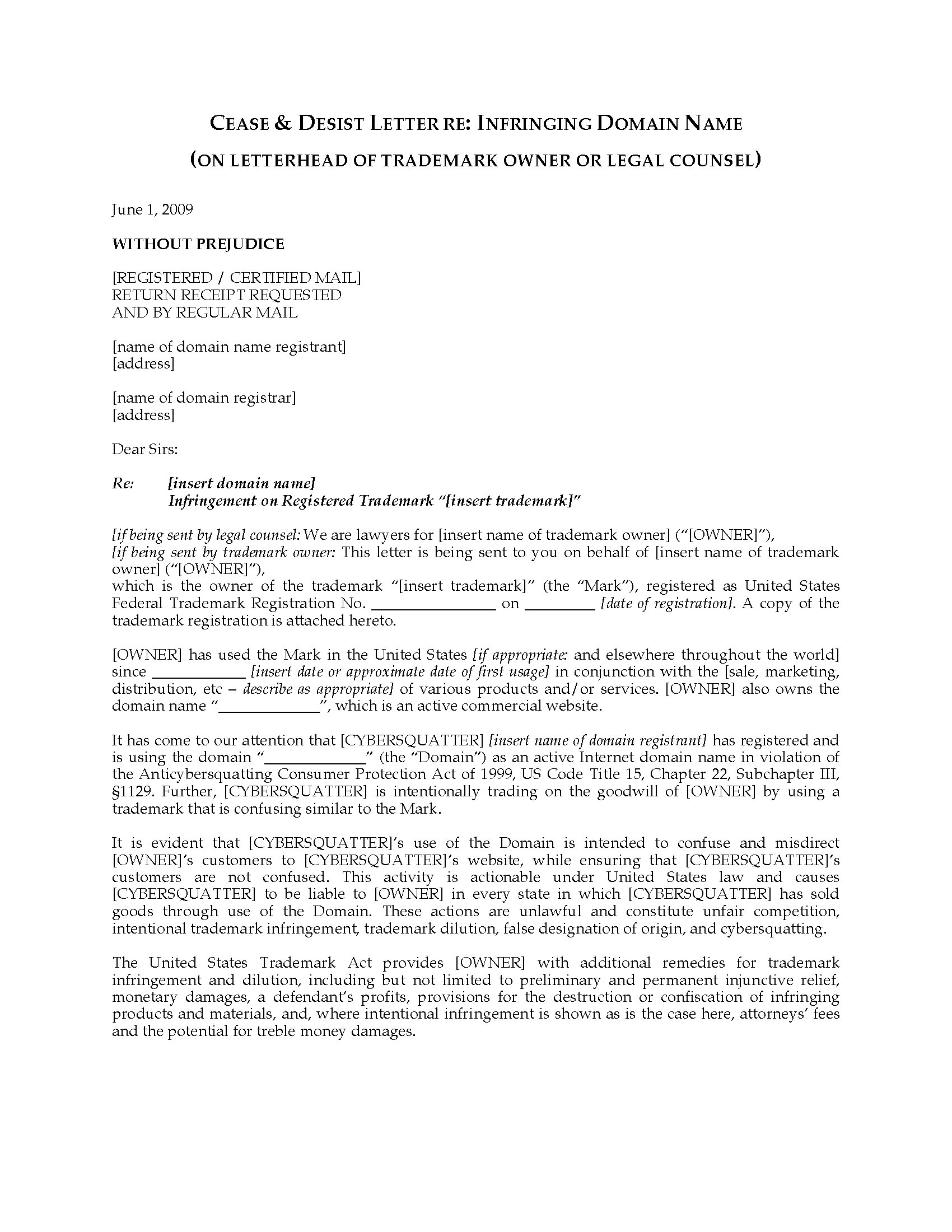 Trademark Cease and Desist Letter Template - 20 Best Trademark Infringement Letter Template Uk Pics