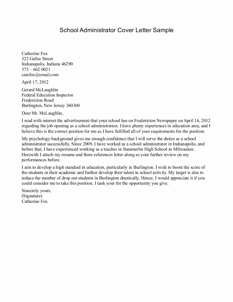 School Administrator Cover Letter Example