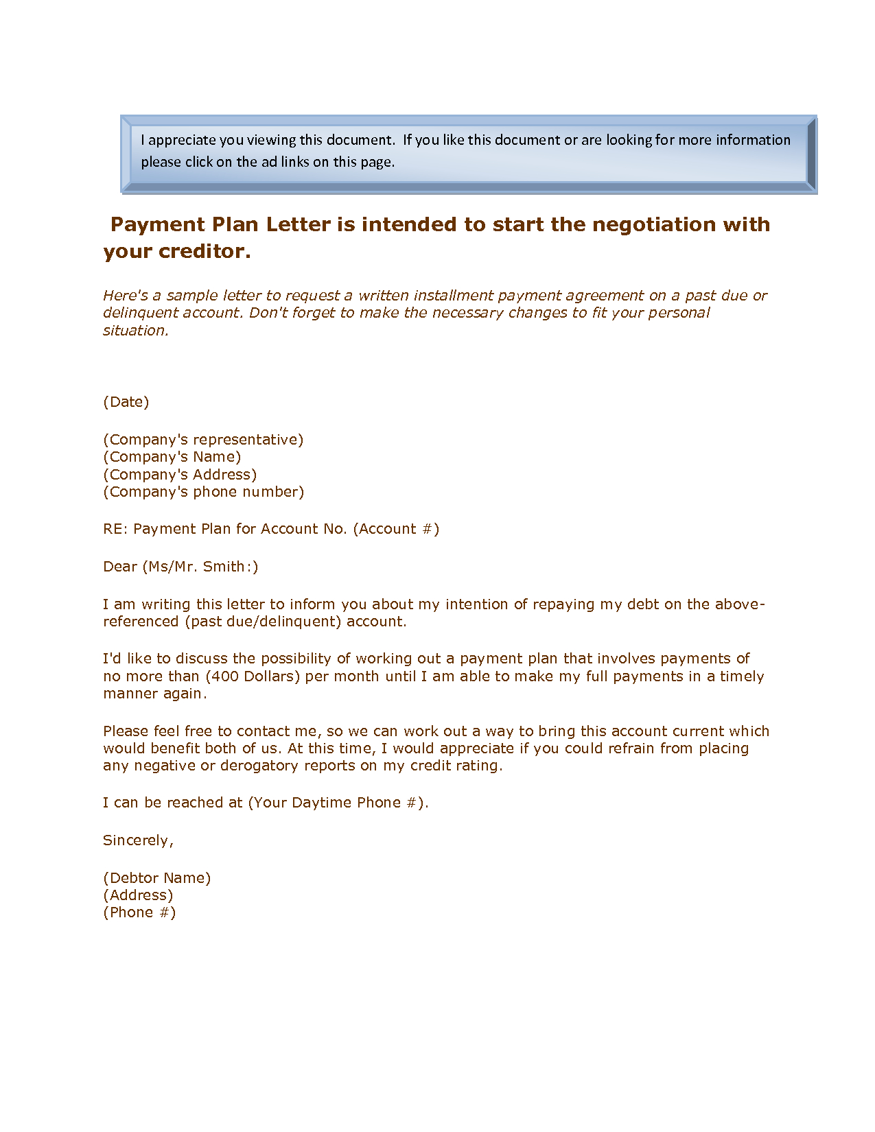 Payment Plan Proposal Letter Template - 20 Inspirational Payment Agreement Letter Examples