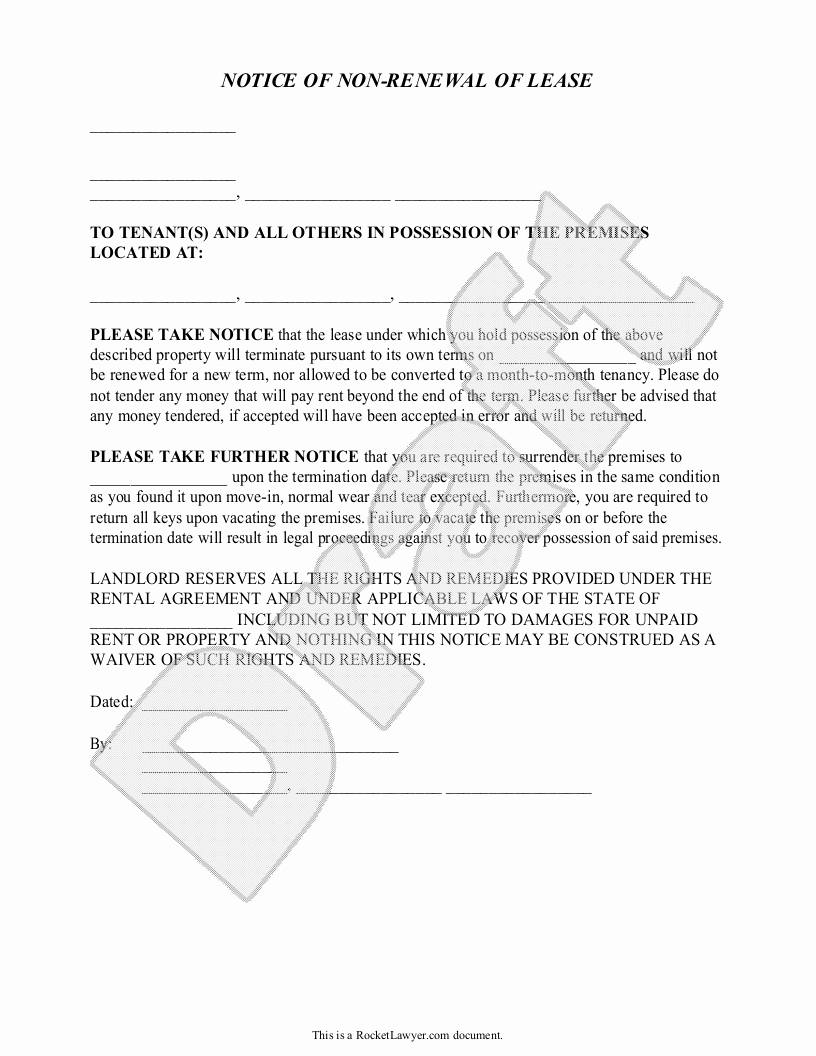 Rent Renewal Letter Template - 20 Lease Termination Letter From Landlord
