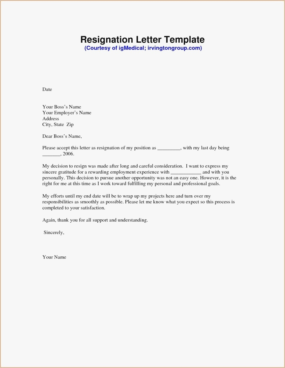 Free Thank You Letter Template - 21 Resignation Letter Template Free format
