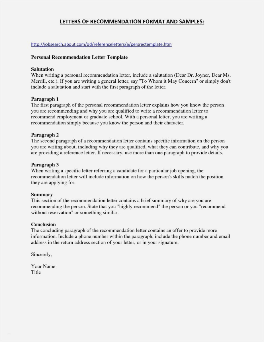 Email Letter Of Recommendation Template - 23 Letter Re Mendation for Graduate School Sample Example