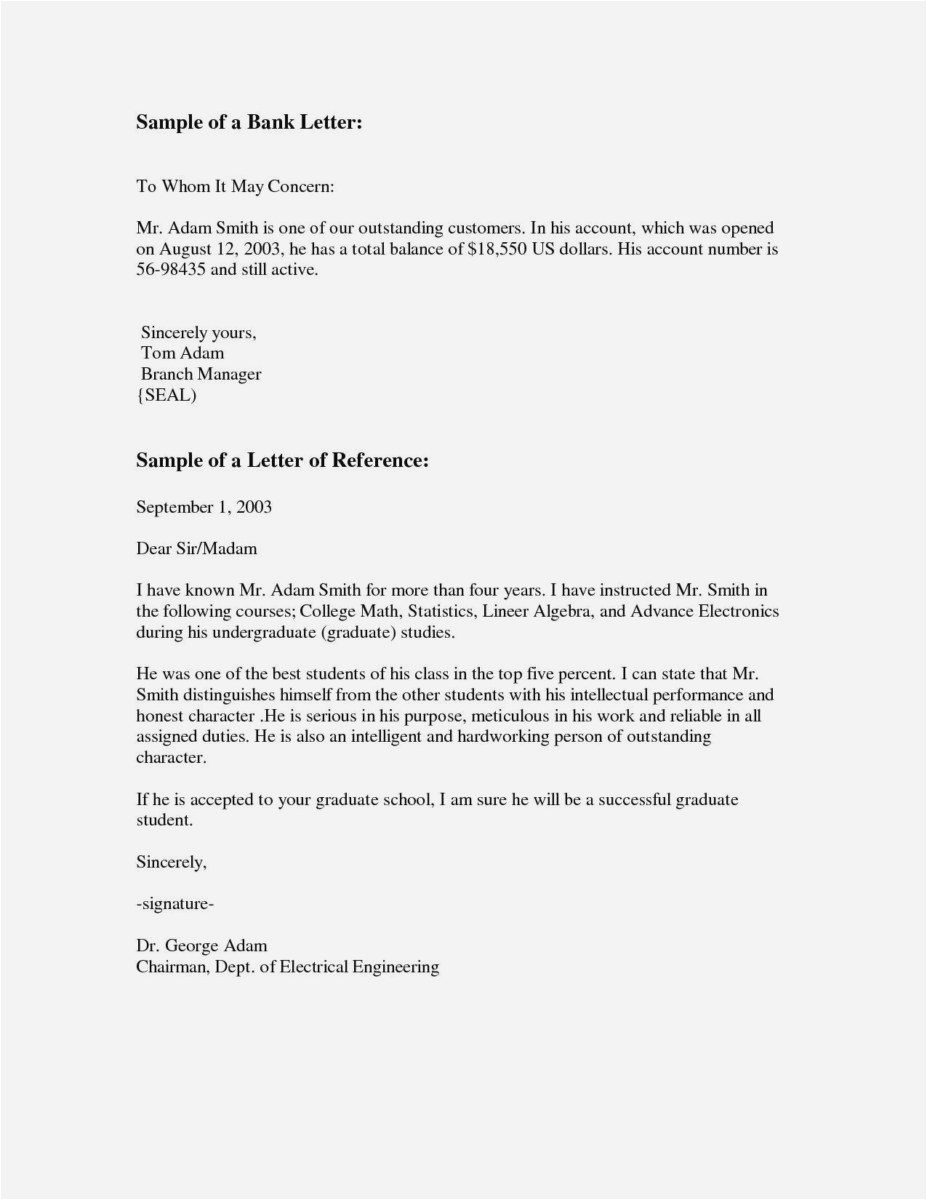 Free Character Reference Letter Template - 23 Letter Re Mendation for Graduate School Sample Example