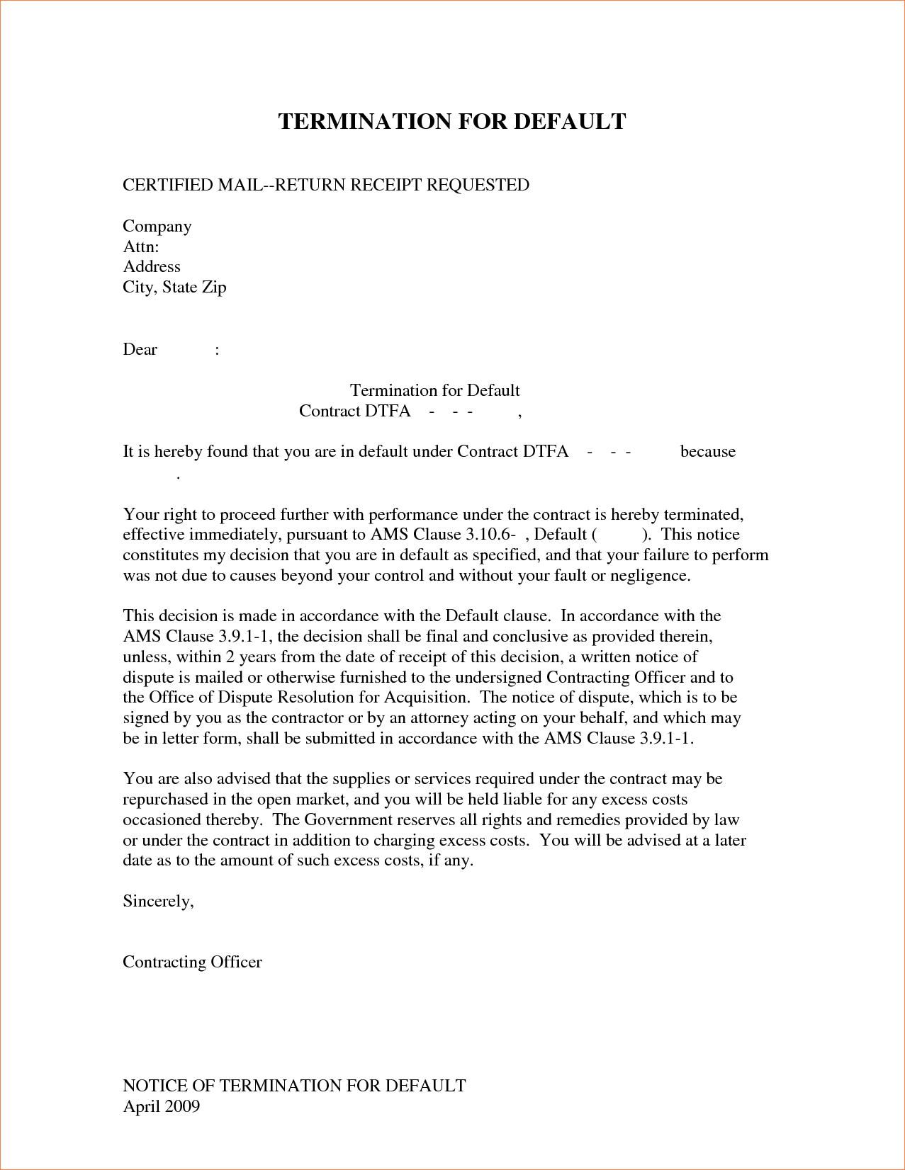 Free Contract Termination Letter Template - 24 Best Ending Lease Agreement Letter Sample