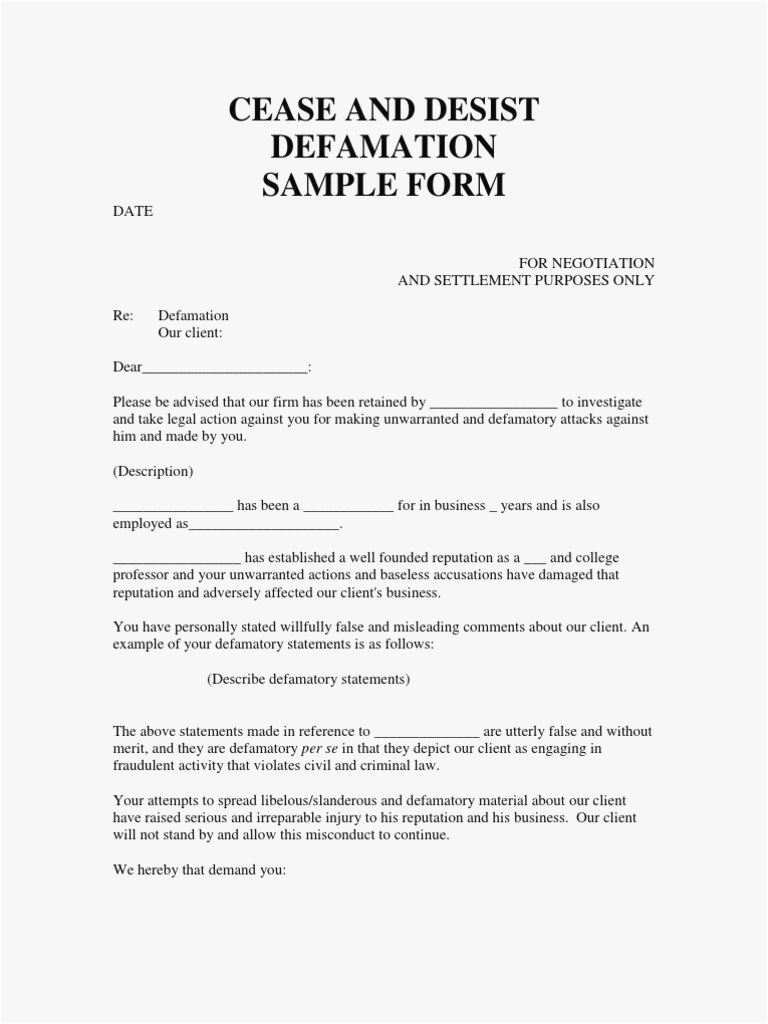 cease and desist letter for defamation of character template Collection-13 cease and desist letter template cease and desist letter slander of cease and desist letter template free 14-e
