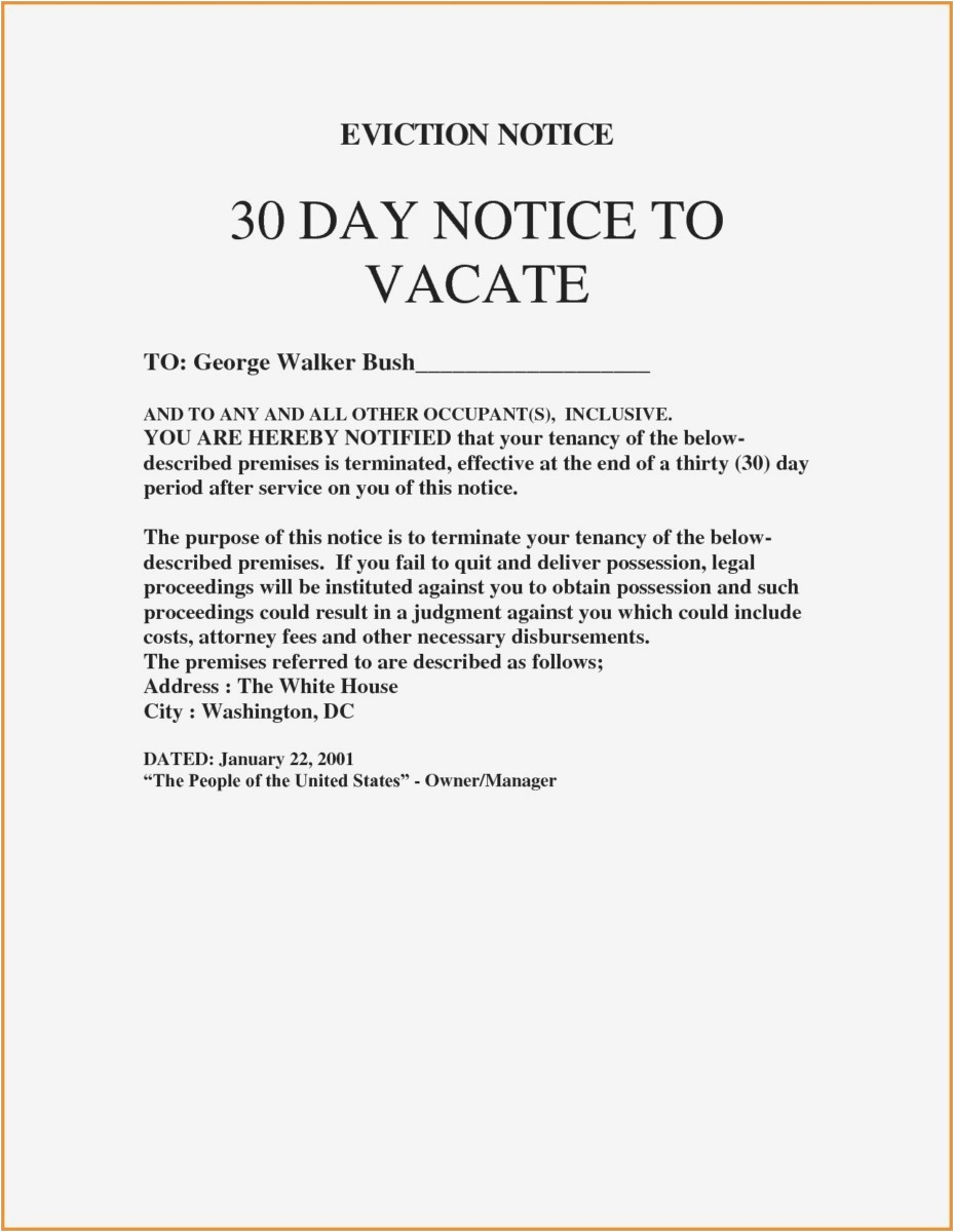 30 Day Notice to Vacate Letter to Tenant Template - 27 30 Day Notice to Vacate Template Picture