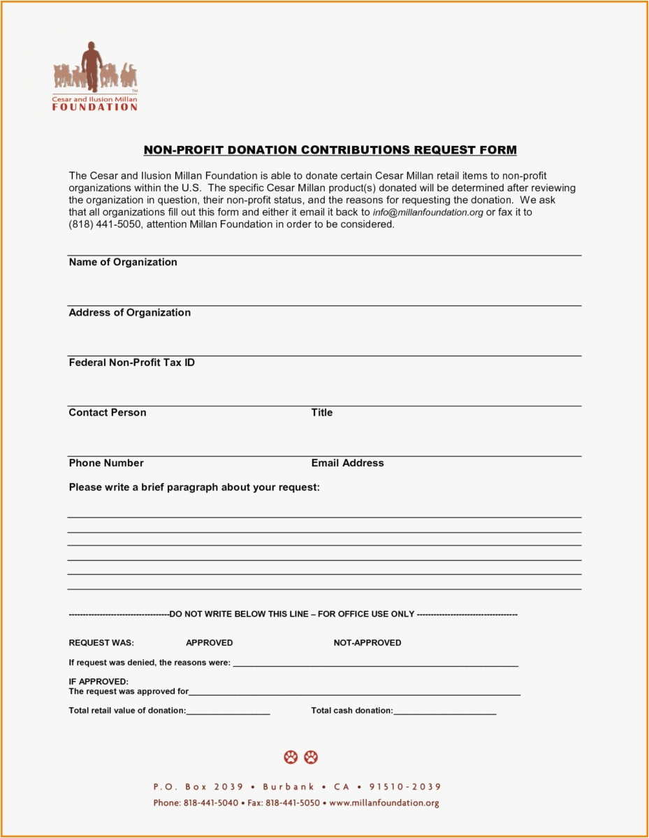 Non Profit Donation Receipt Letter Template - 27 Donation Request form Template 2018