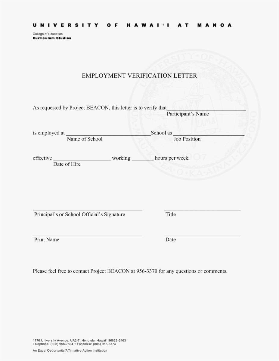 Free Employment Verification Letter Template Download - 27 Employment Verification Letter Template Word Simple