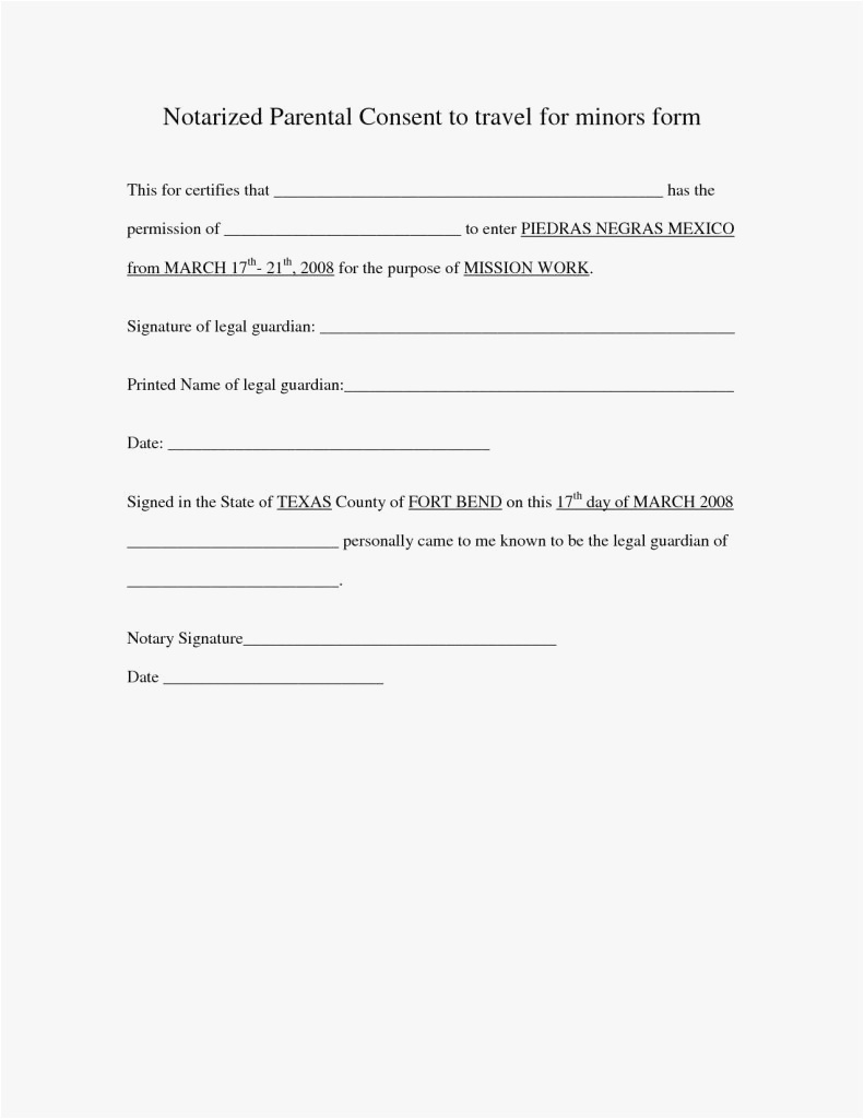 Parent Consent Letter for Travel Template - 27 Notarized Letter Template for Child Travel Professional