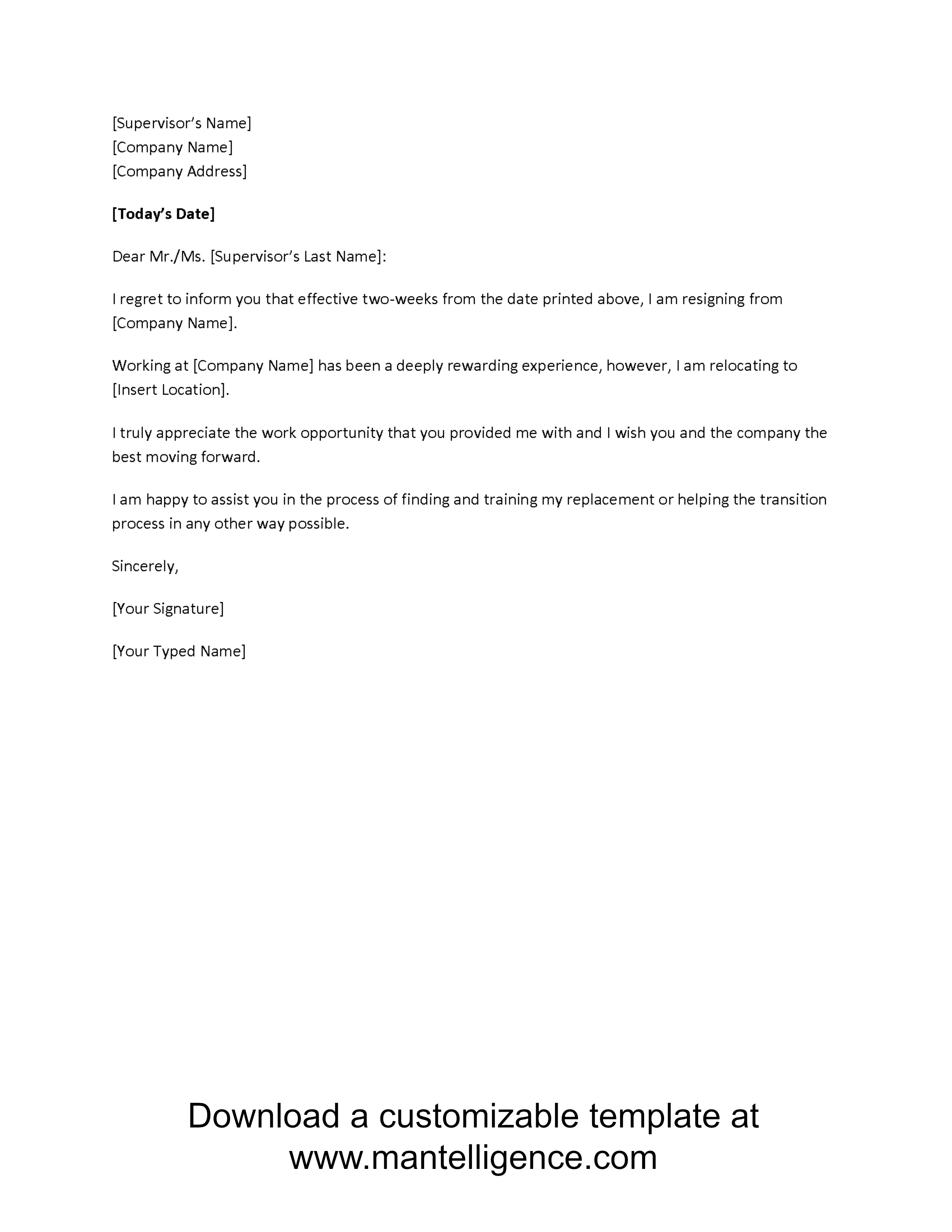 Employee Relocation Letter Template - 3 Highly Professional Two Weeks Notice Letter Templates