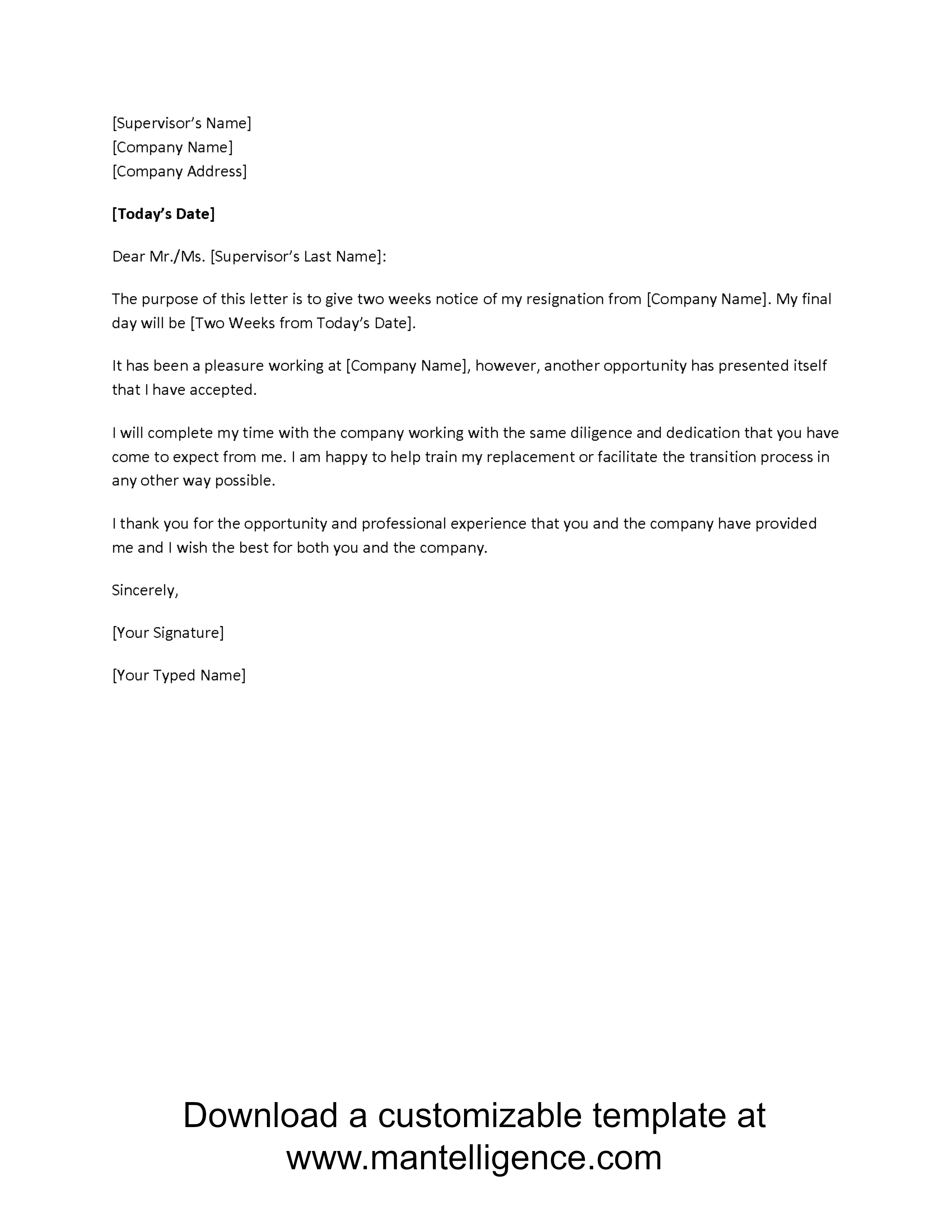 Resignation Letter Free Template Download - 3 Highly Professional Two Weeks Notice Letter Templates