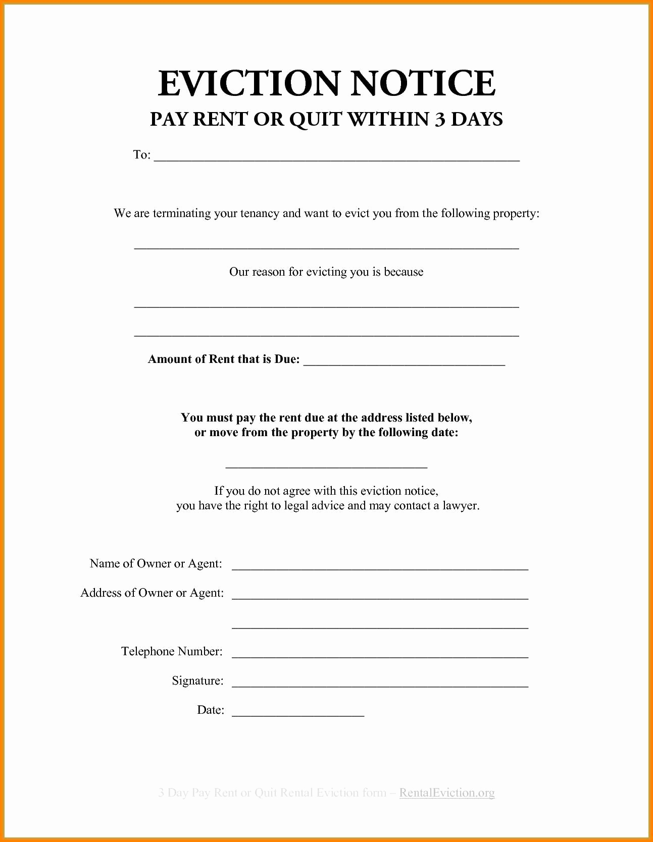 Eviction Letter Template Florida - 30 Day Eviction Notice Template top Result Beautiful 3 Day Eviction