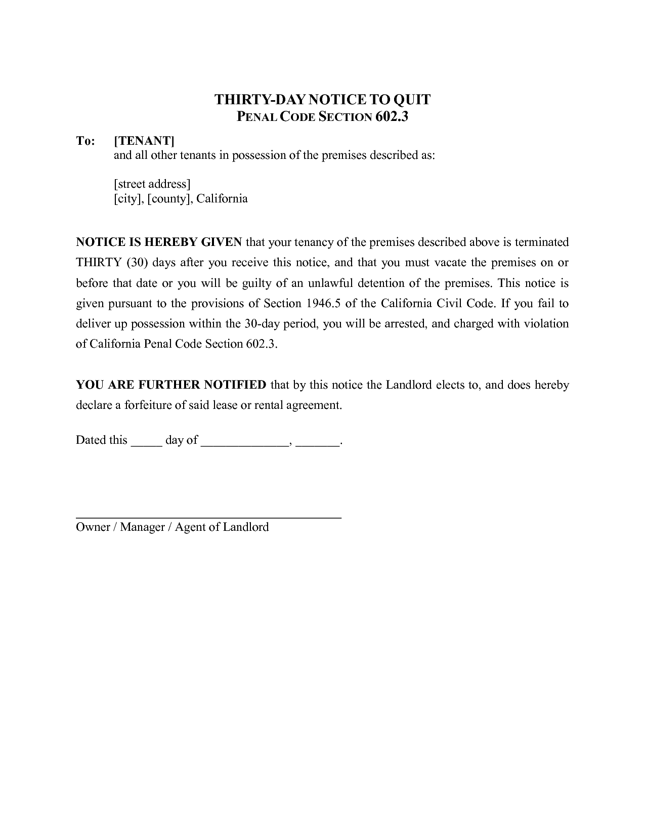 Eviction Letter Template California - 30 Day Notice Template California