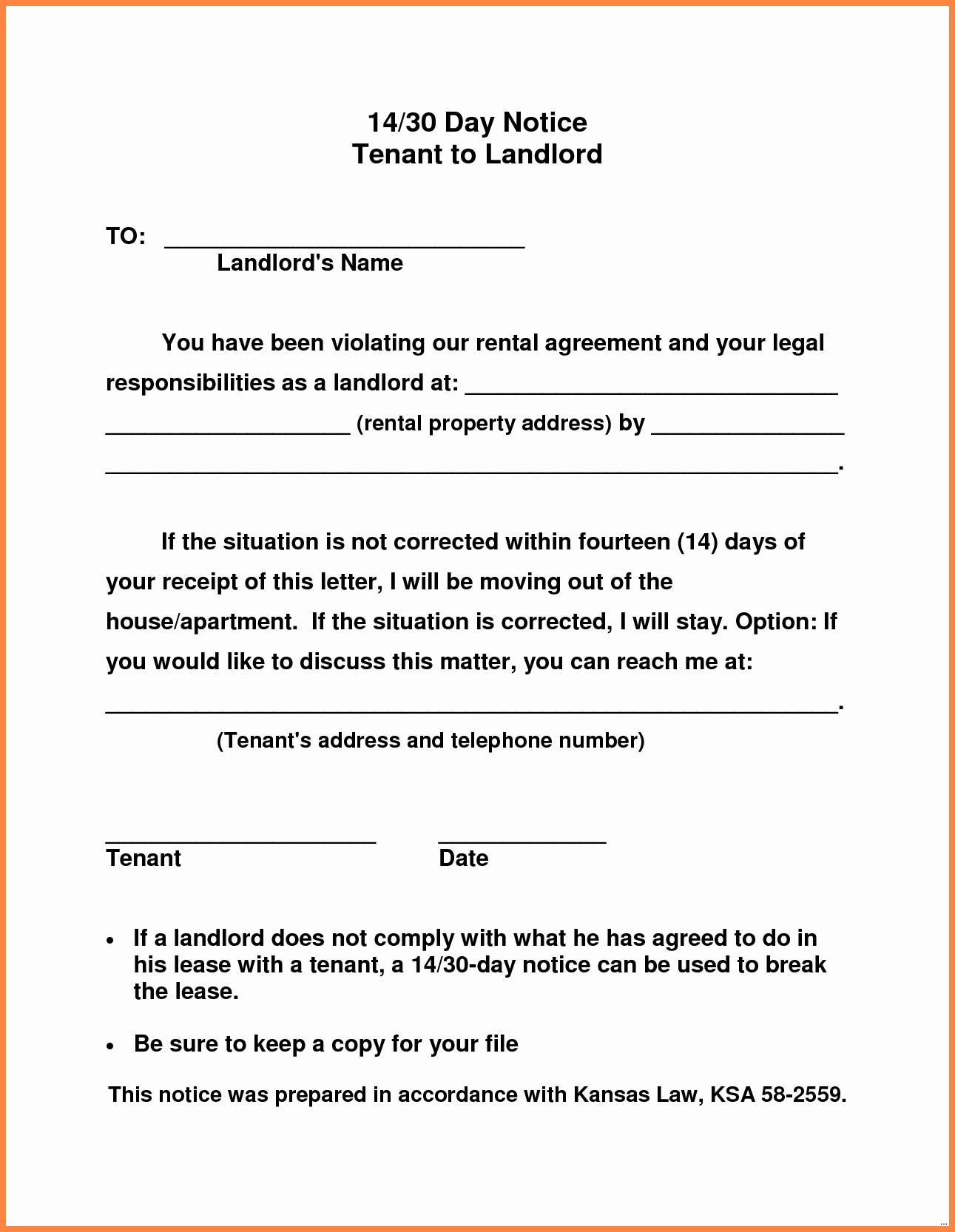 Landlord Notice Letter to Tenant Template - 30 Day Notice Template to Landlord Inspirational 20 Fresh