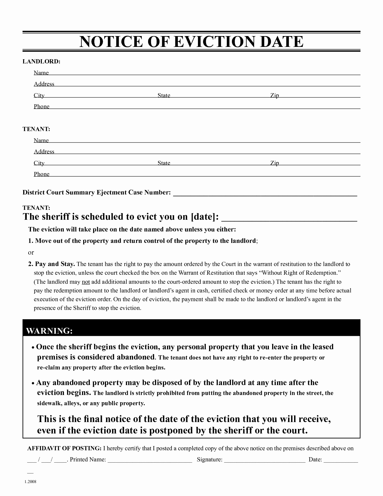Tenant Eviction Letter Template - 30 Day Notice to Landlord Template Fresh 3 Day Eviction Notice