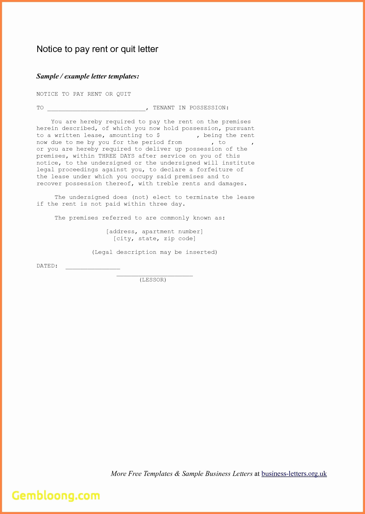 Eviction Letter Template California - 30 Day Notice to Vacate California Template Elegant Free Cover