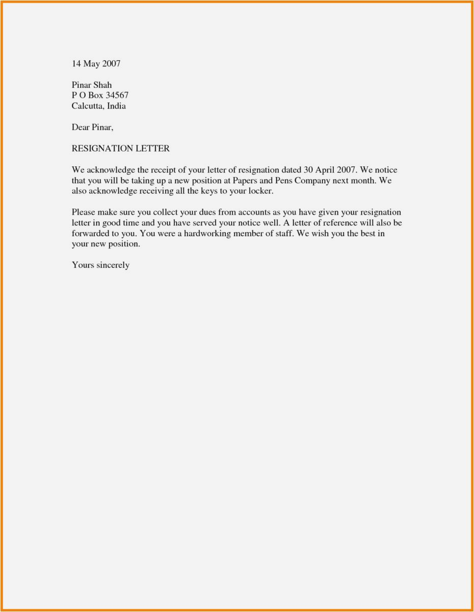Letter Of Resignation Template Word 2007 - 30 New Resignation Letters Samples Free Download