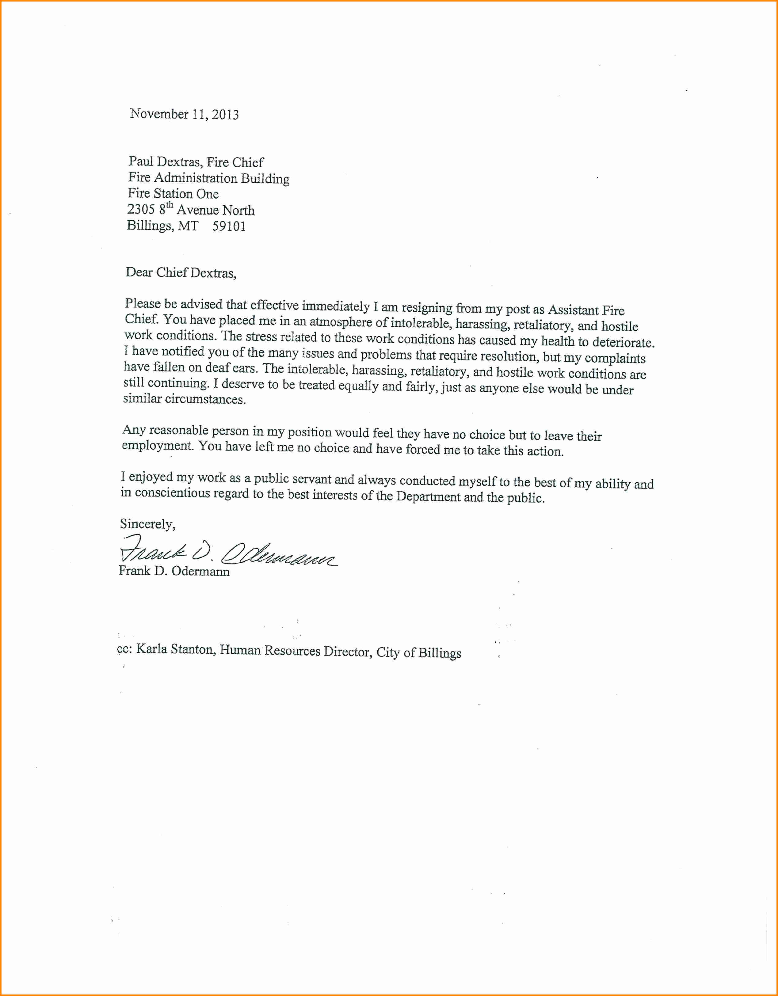 Hostile Work Environment Complaint Letter Template Examples