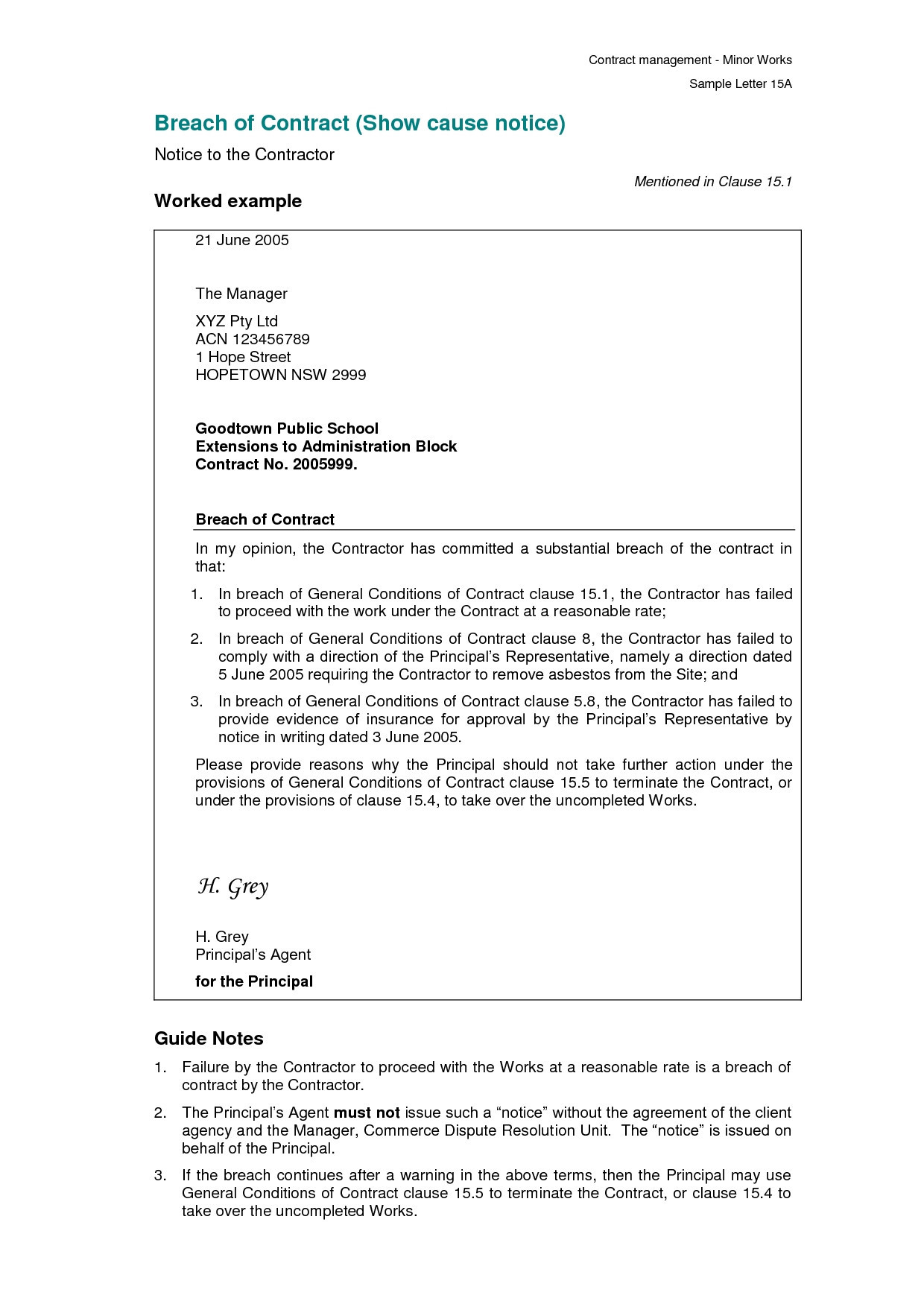 Notice Of Breach Of Contract Letter Template - 37 Unique Sample Breach Contract Letter