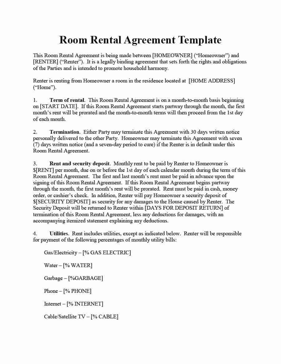 Lease Termination Letter Template - 39 Simple Room Rental Agreement Templates Template Archive