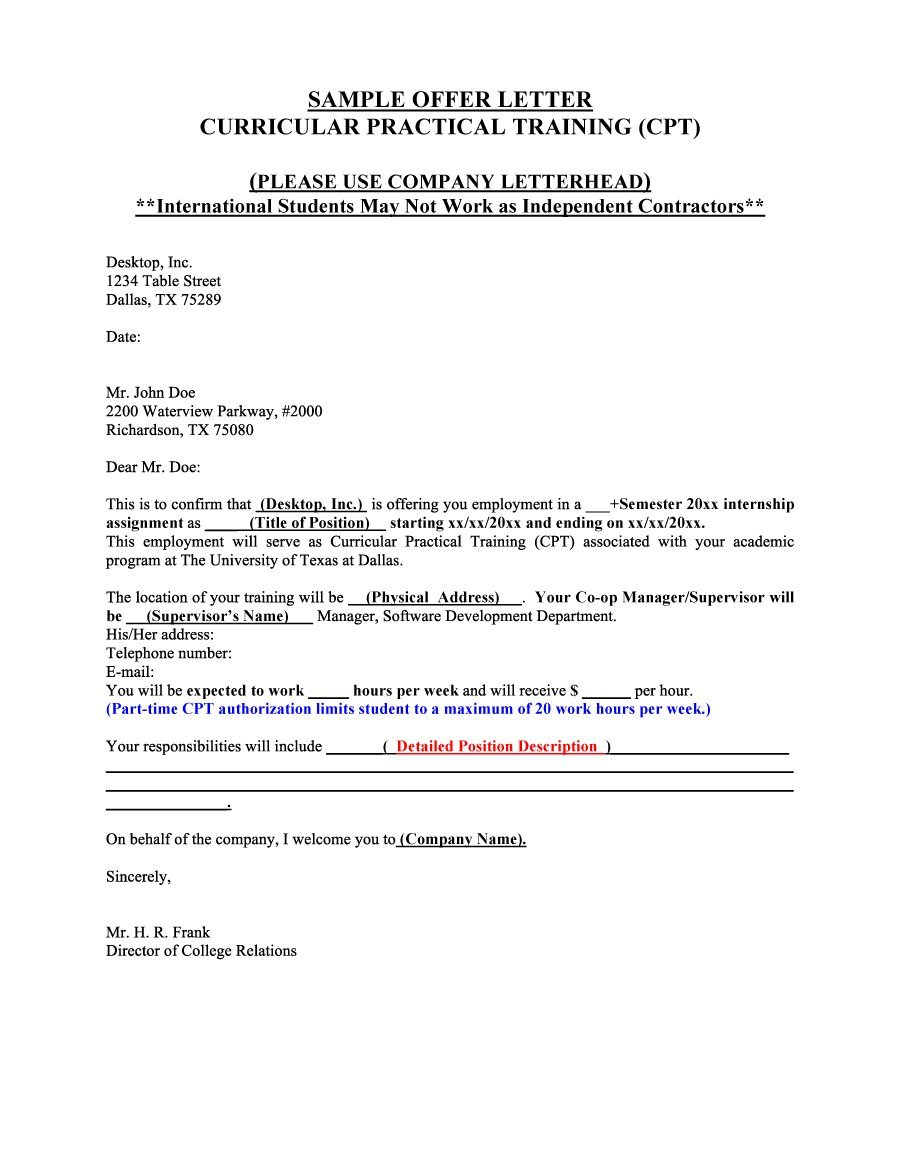 Independent Contractor Offer Letter Template Collection | Letter