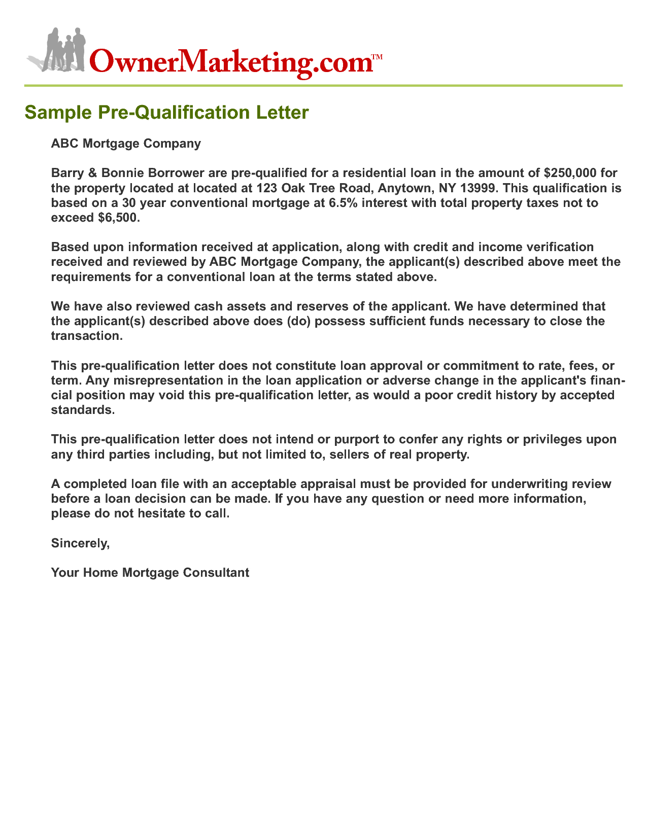 Mortgage Pre Qualification Letter Template Collection | Letter