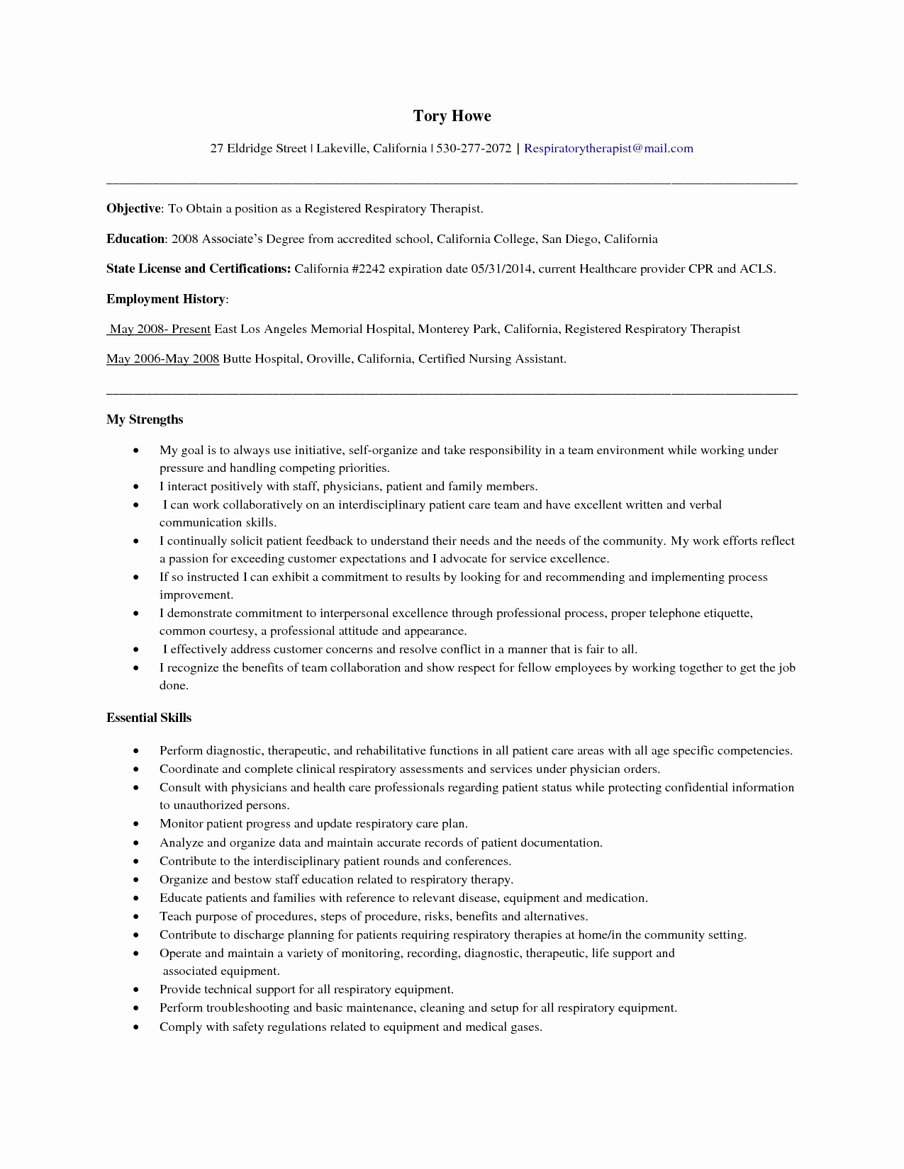 Respiratory therapy Cover Letter Template - 50 Awesome Respiratory therapist Resume Graphics