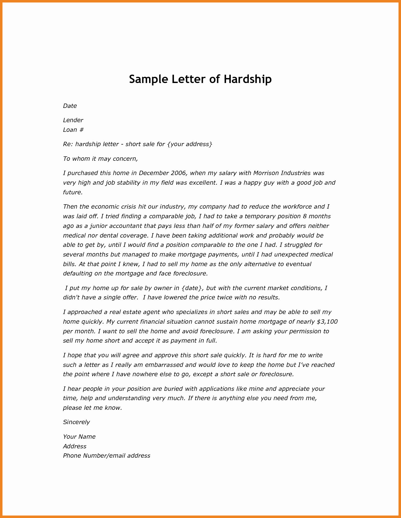 Foreclosure Letter Template - 59 Inspirational S How to Write A Hardship Letter for