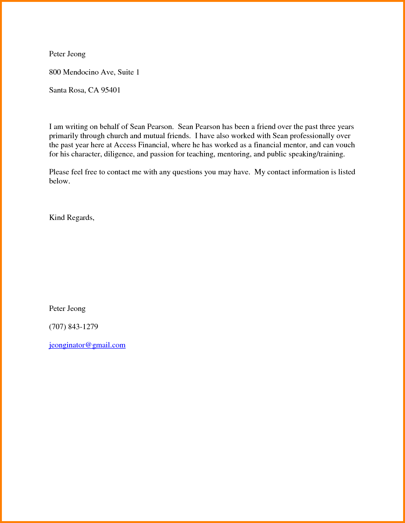 Letter Of Recommendation for A Friend Template - 7 Character Letter for A Friend Resume Reference