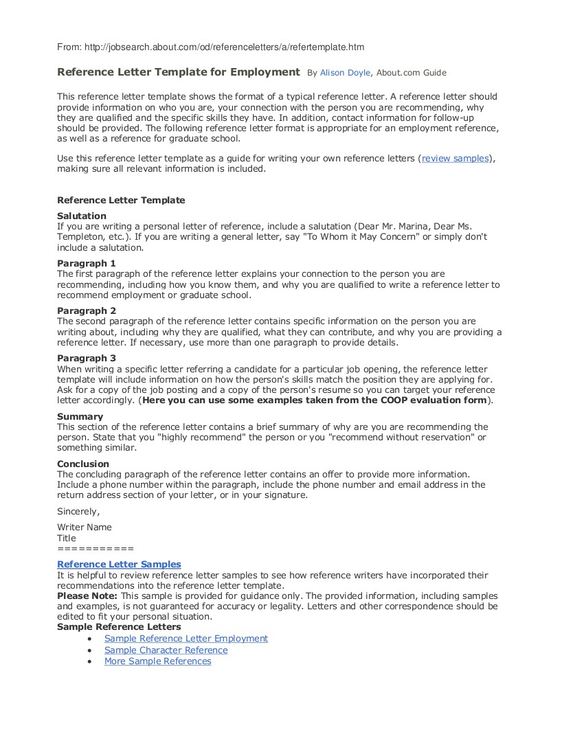Reference Letter Template Free - 9 Employee Reference Letter Examples & Samples In Pdf Sample