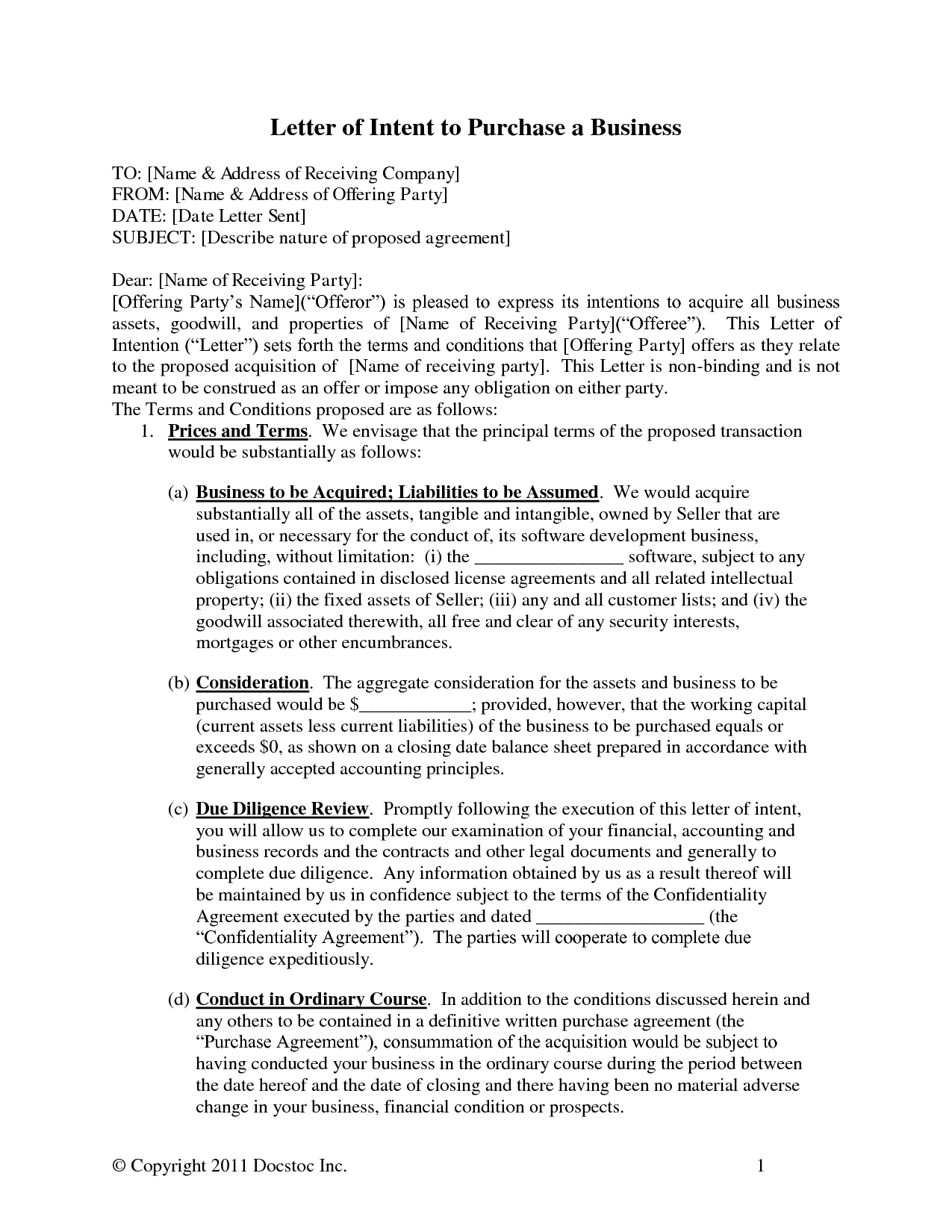 Letter Of Intent to Purchase Business Template - Acquisition Business Letters