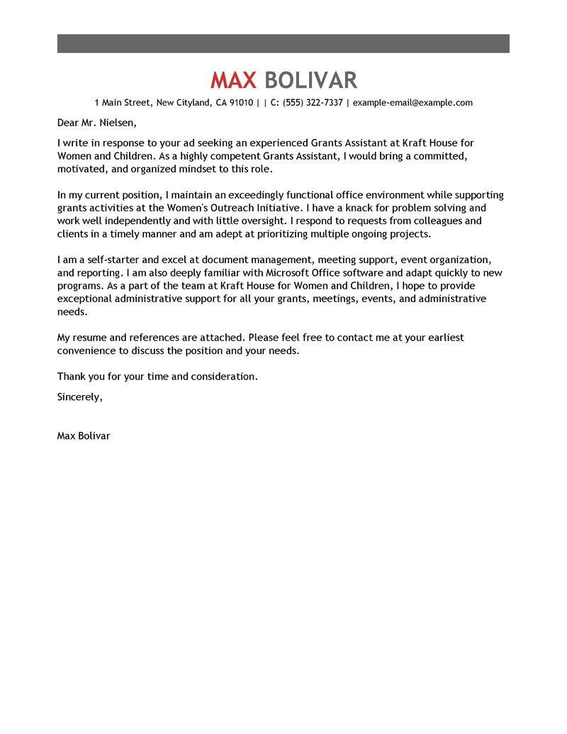 Personal Assistant Cover Letter Template