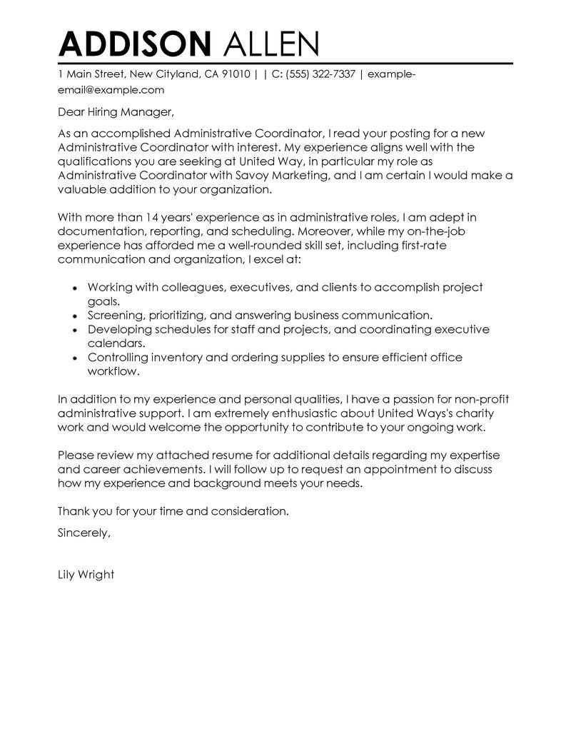 Media Cover Letter Template - Administrative Coordinator Cover Letter Examples