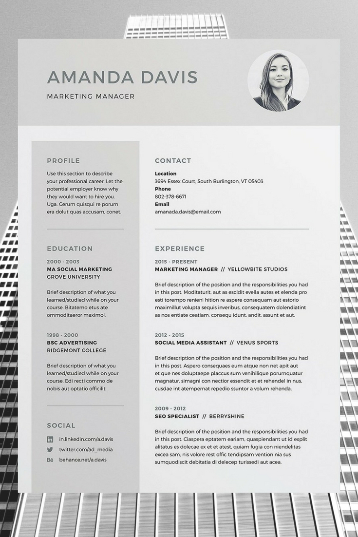 Indesign Cover Letter Template - Amanda Resume Cv Template Word Shop