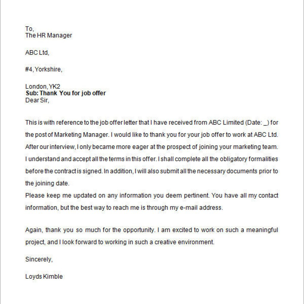 California Offer Letter Template - Amazing Job Fer Thank You Letter Letter format Writing