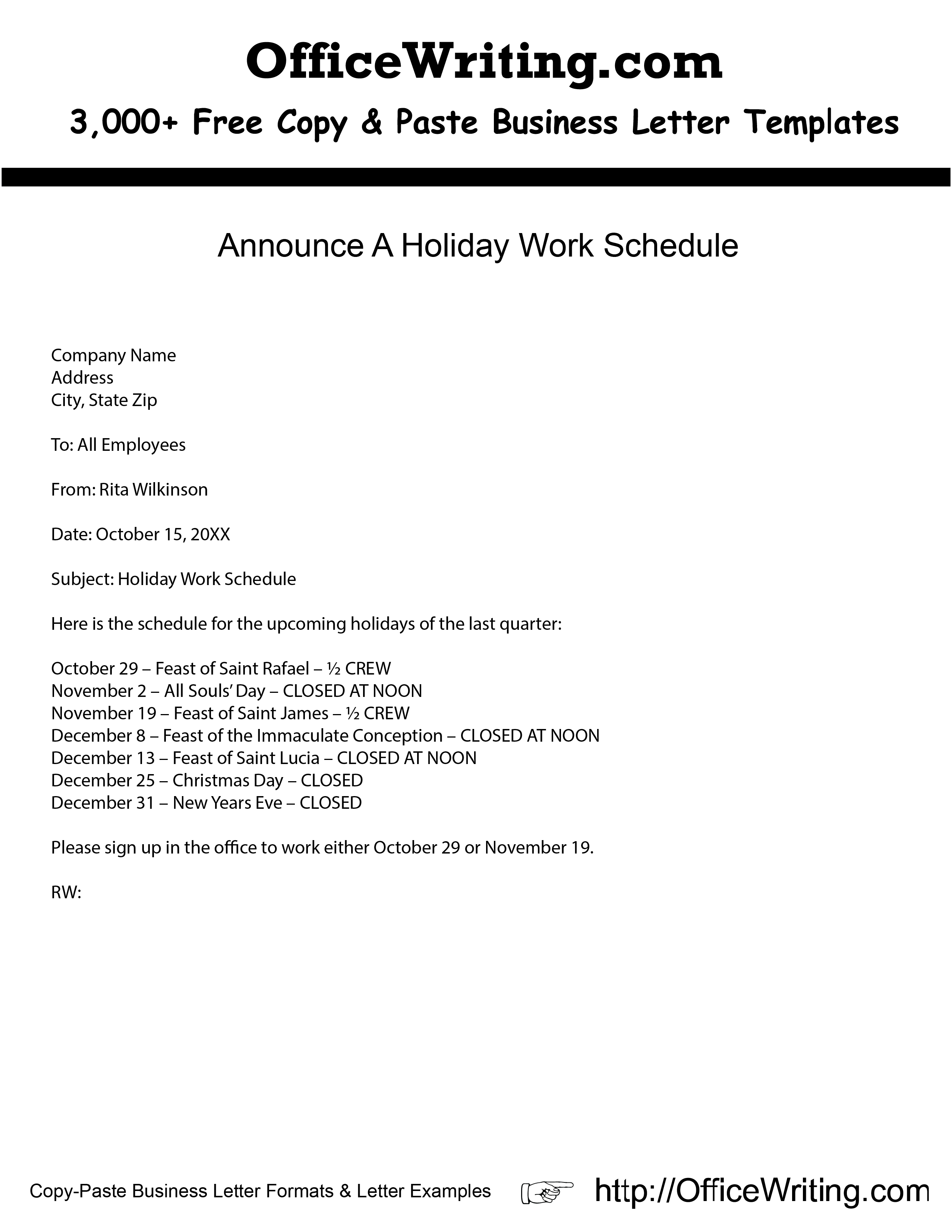 Holiday Letter Template - Announce A Holiday Work Schedule We Have Over 3 000 Free Sample