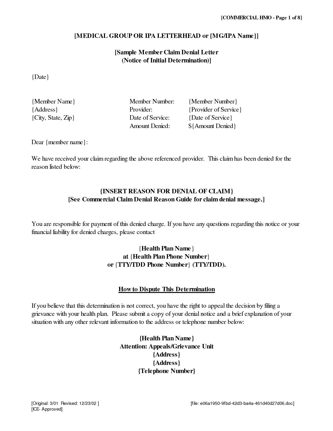 Bond Claim Letter Template - Appeal Letter Template Medical New Gallery Title Insurance Claim