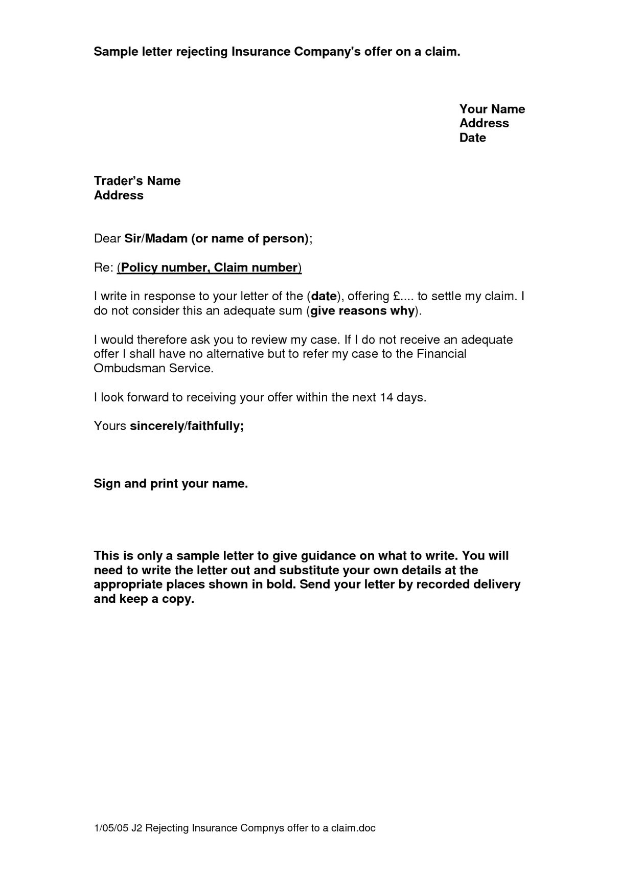 Insurance Denial Letter Template - Appeal Letter Template Medical New Gallery Title Insurance Claim