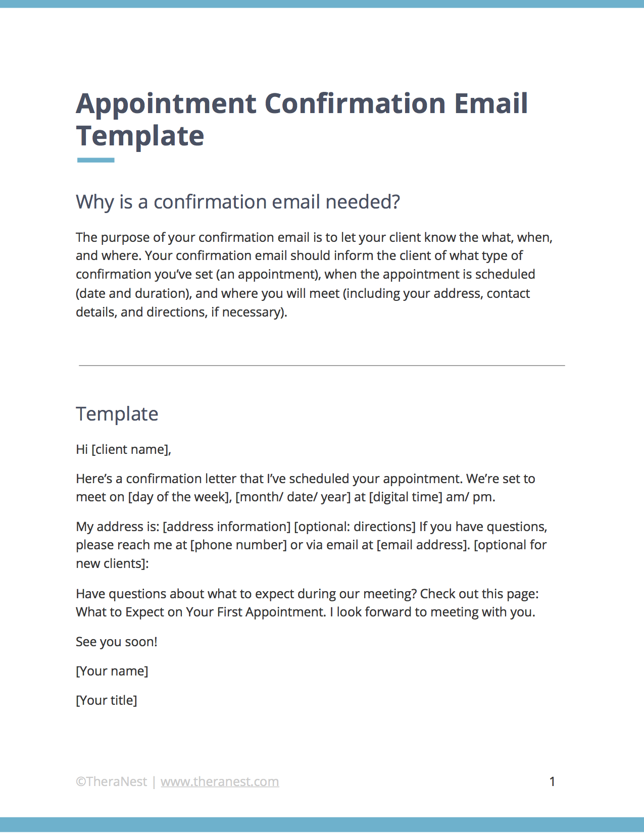 Goodbye Letter to Addiction Template - Appointment Confirmation Email Template for therapists