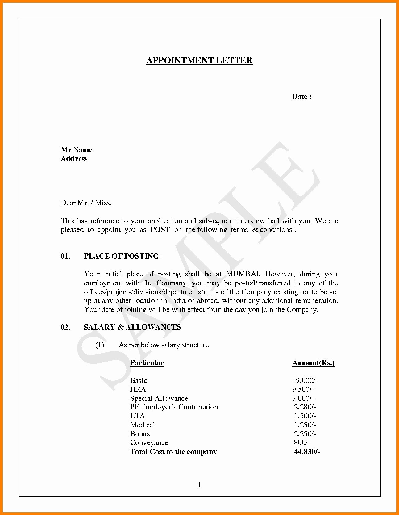 Job Offer Letter Template Pdf - Appointment Letter Sample In Word format India Copy Appointment